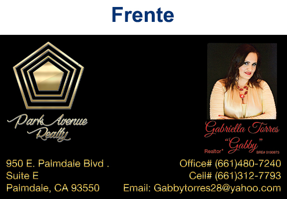 Park Avenue Realty – Gabby Torres – Business Card Proof