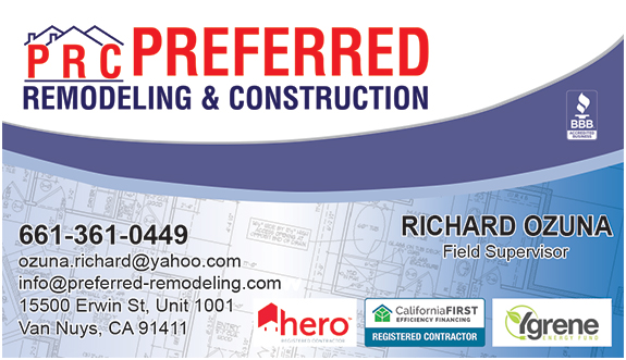 Preferred remodeling construction business cards and polo shirts richard business card reheart Choice Image