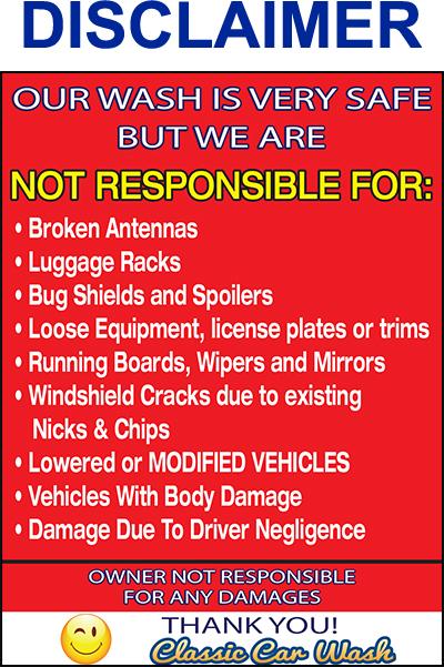 Car Wash Damage Disclaimer